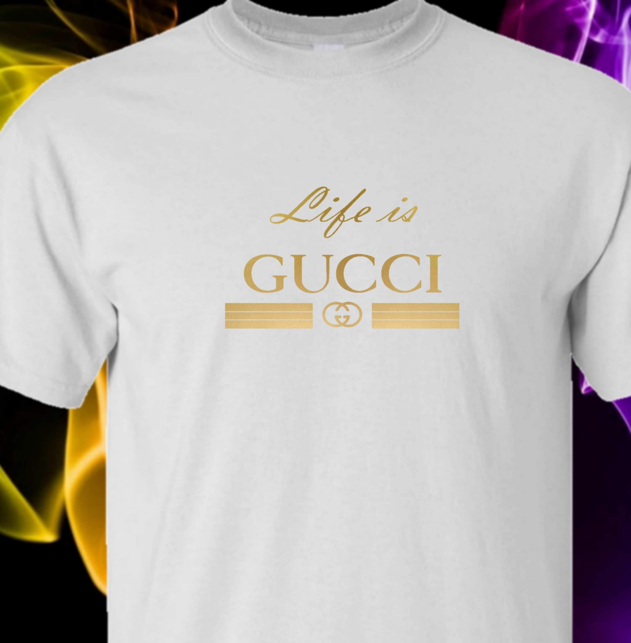 41a17009c LIFE IS GUCCI – White Tshirt (GOLD LOGO) – T-Industries