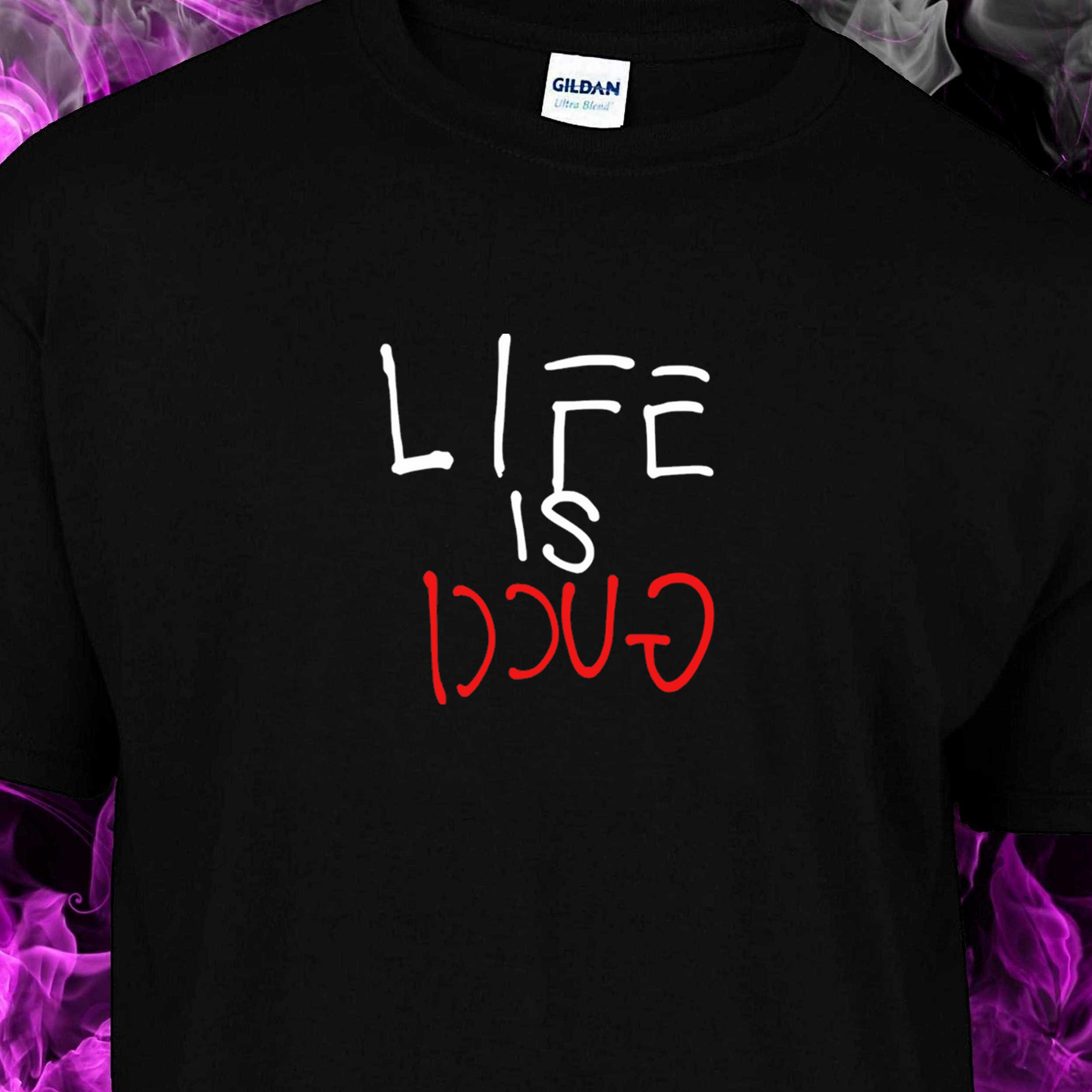 67a6052a LIFE IS GUCCI (PAINT) – Black Tshirt (WHITE & RED logo) – T-Industries