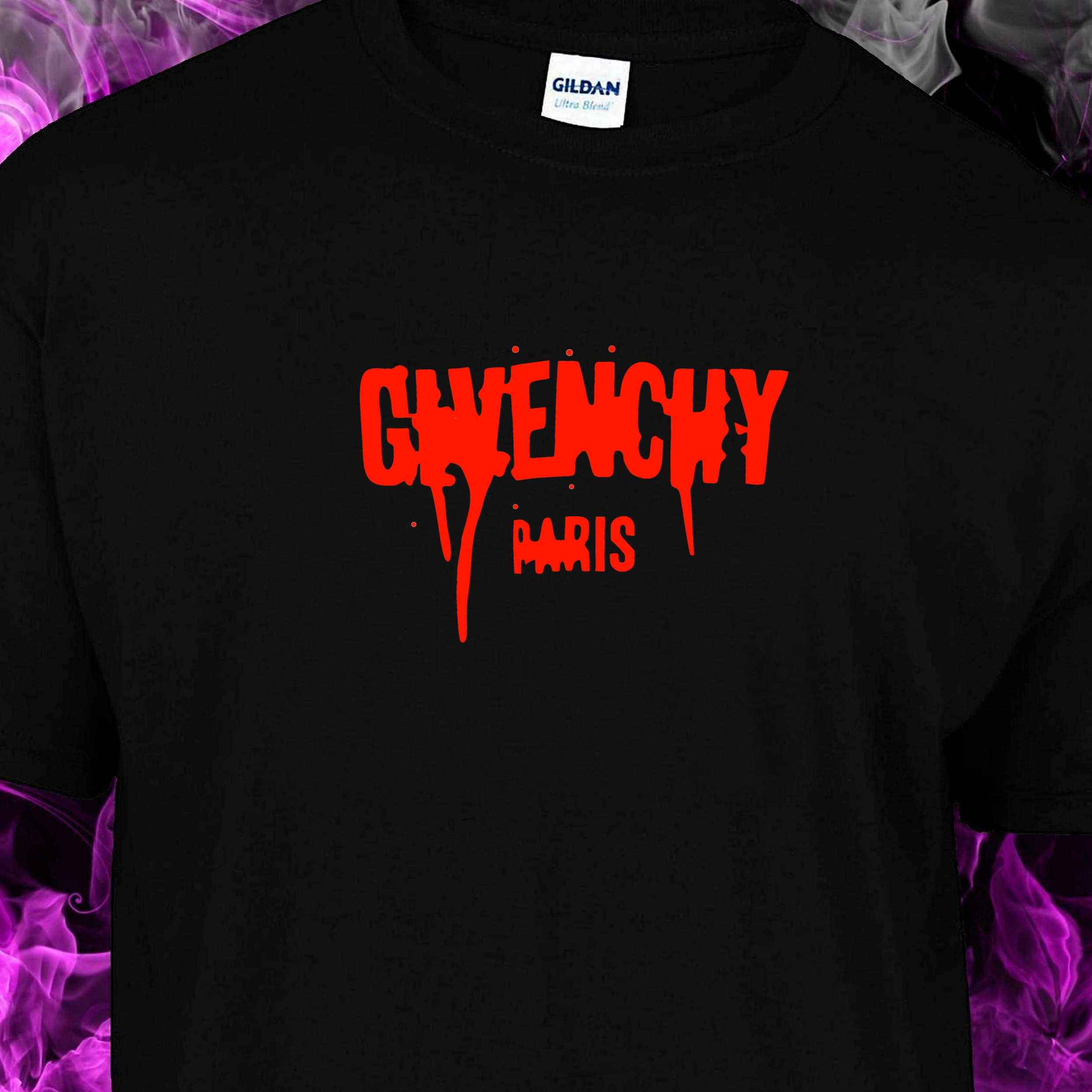 c1f936207a GIVEN(CHY) PARIS (DRIPPING BLOOD) – BLACK TSHIRT – RED LOGO – T ...